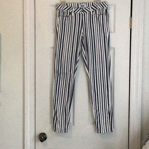 Paige ultra skinny striped jeans navy and white 29